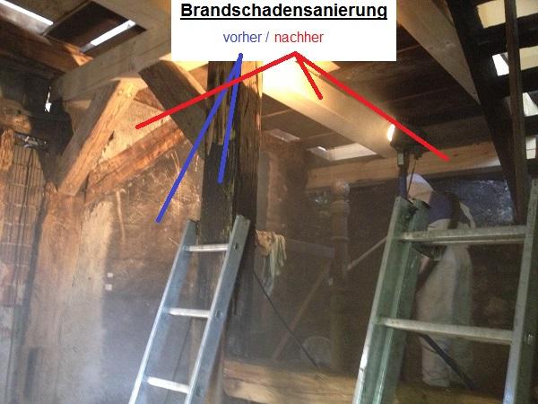 Brandsanierung Bauernhaus-trockeneistrahlen-trockeneisreinigung-nuernberg